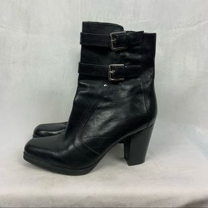 MARC FISHER black leather square toe heeled boots Sz 8.5